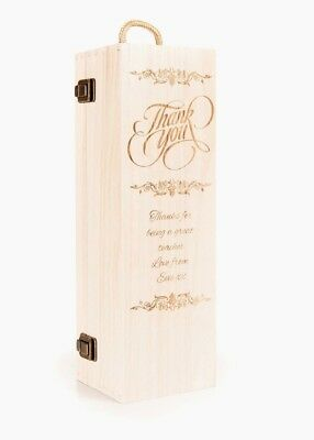 Personalised Wooden Wine Box Thank You Champagne Prosecco Bottle Teacher's