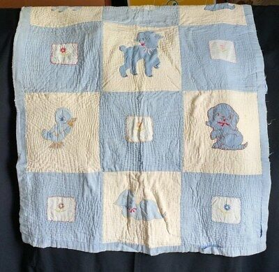Antique Baby Quilt blue animals quilted crib blanket vintage unknown 36in x 45in