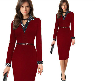 Womens Retro Bodycon Career Business Work pencil Dress Sheath Long Sleeves Dots