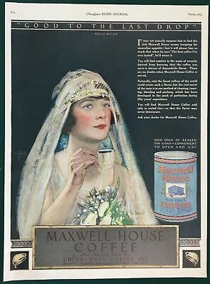 1923 MAXWELL HOUSE COFFEE. Large original ad. Bride, Good to the Last Drop