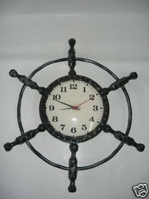 Wall clock wrought iron RUDDER NAUTICA SEA