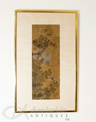 Old Chinese Framed Scroll Painting Of Flowers Signed