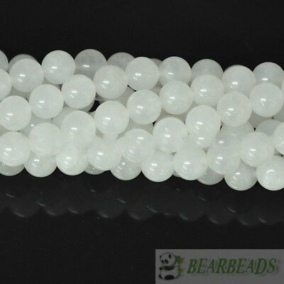 Natural White Jade Gemstone Round Spacer Loose Bead 4mm 6mm 8mm 10mm 12 14mm 15""