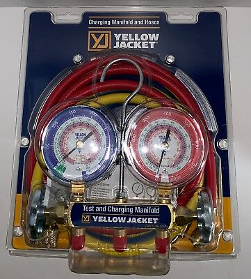 """Yellow Jacket 42004 Refrigeration Manifold with 60"""" Hoses - R-22 / 404a / 410a"""
