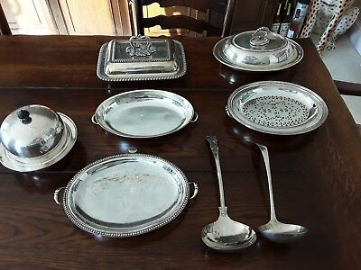 Vintage Silver Plated Serving Dishes Some With Lids