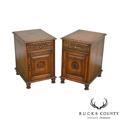 Feudal Oak Jamestown Lounge Vintage Pair Carved One Drawer Cabinet Nightstands
