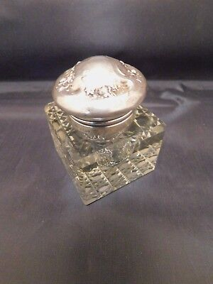 Antique Victorian Woodside Sterling Silver Cut Crystal Inkwell Repousse Lid 1896