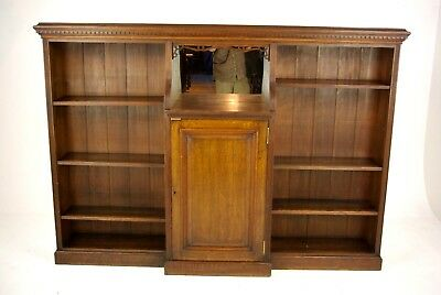 Solid Oak Bookcase, Open Bookcase, Victorian Tiger Oak, Scotland 1890, B1192
