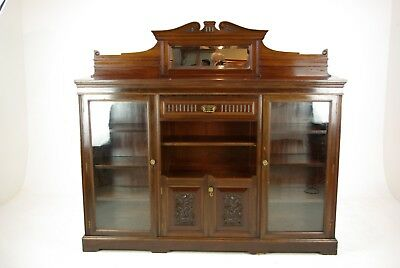 Solid Walnut Bookcase, Three Door Bookcase, Victorian, Scotland 1890, B1191