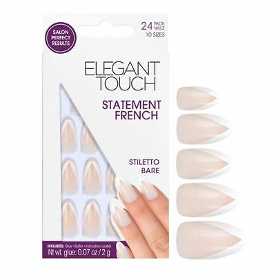 Elegant Touch Faux Ongles - Déclaration French Manucure Stiletto Bare (24