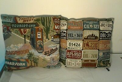 "Pair of  VINTAGE Gas Pump License Plate Travel TAPESTRY PILLOWS 15"" x 16"" EUC"