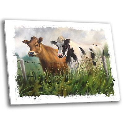 Black White Brown Green Cows Retro Large Modern Wall Art Canvas Picture Prints