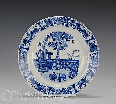 Superb Antique Chinese Blue White Plate W Vessels - Kangxi Period