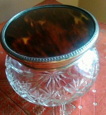 antique solid silver sterling lidded powder bowl dressing table