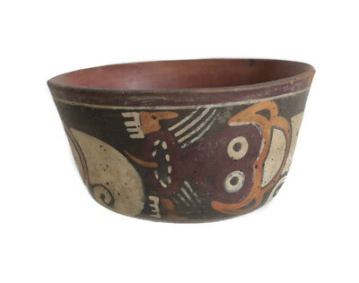Pre Columbian Peru NAZCA Polychrome pottery bowl, with stylized monkeys