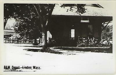 Linden, Massachusetts Railroad Depot Real Photo Postcard- RPPC