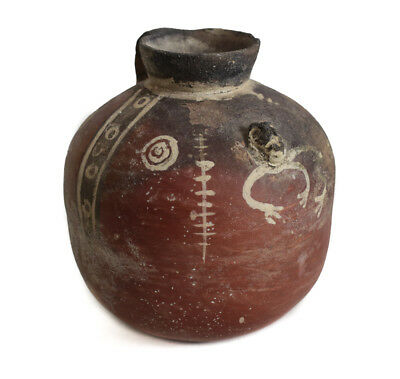 Small Pre Columbian Pottery Jug, Michoacan? polished red slip with white slip