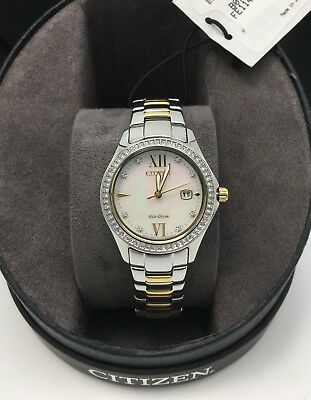 Citizen Eco-Drive Solar Women's Mother of Pearl Watch, Gold/Silver FE1144-85D
