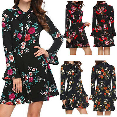Fashion Women Flare Long Sleeve Bow O-Neck Floral Printed Party Sexy Mini Dress