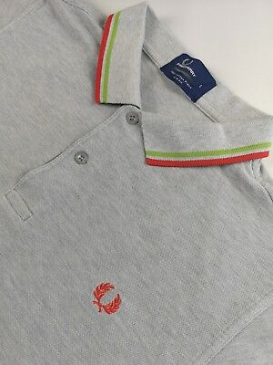 Fred Perry Polo Shirt Size Large Slim Fit Grey Mens Boys Casual Clothing