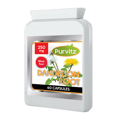 Dandelion 250mg Whole Root Capsules Water Retention Liver Detox Made UK Purvitz