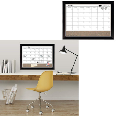 Whiteboard Magnetic Dry Erase Calendar Board Cork Wood Frame Wall Decor Marker