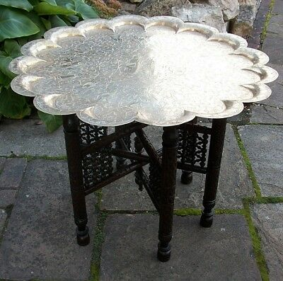 Large  Antique Anglo/indian Carved Folding Side Table With Brass  Tray