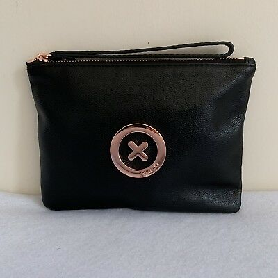 Free Post Mimco Black Rose Gold Supernatural Medium Pouch Cow Leather Rrp99.95