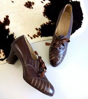 Spectator Lace Up Heel Size 5 ? Peters Shoes Style Girl Brown Leather Vintage