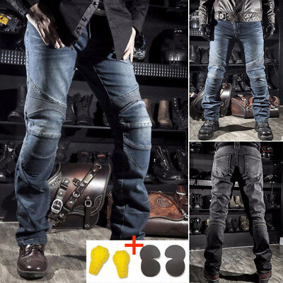 X~3XL Motorcycle Biker Distressed Pants Denim Jeans Trousers W/4 Protection Pads