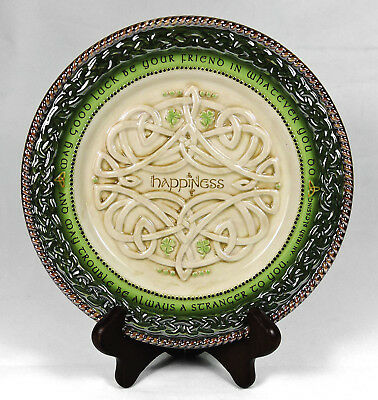 Grasslands Road Celtic Plate Happiness Irish Proverb Knotwork Relief 8""