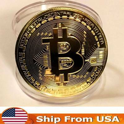 10 Pcs Gold BITCOIN Plated Protective acrylic Kid Xmas Gifts Bitcoin Collection