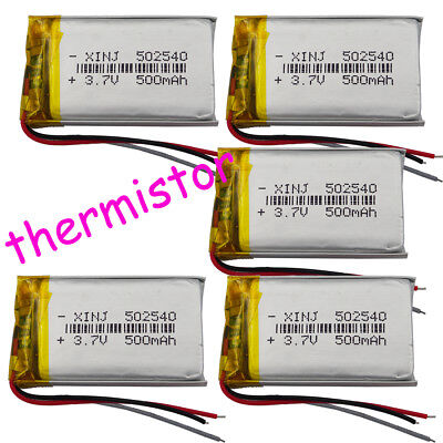 5pcs 3.7V 500 mAh 3wires thermistor Polymer Li-ion battery 502540 For Camera Mp4