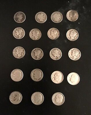 Silver Dimes Barber ,Mercury And Roosevelt Lot Of 19