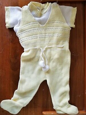 Vintage Baby Knit Sweater Romper Outfit Sz 6-9 Mo Unisex 2 piece set
