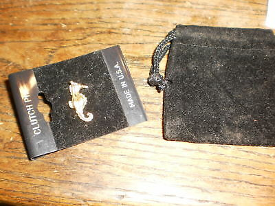 Tiny gold sea horse clutch/lapel pin, new