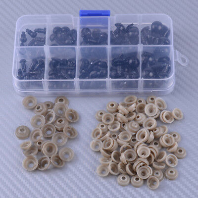 100x 6-12mm Black Brown Plastic Safety Eyes For Teddy Bear Doll Animal Puppet