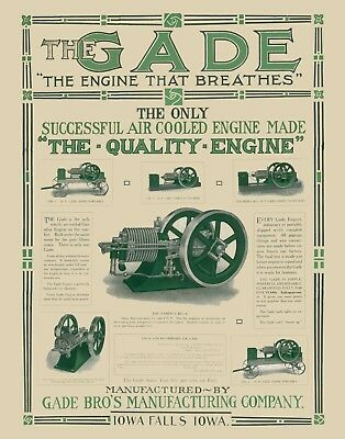 New 22x28 large print: Gade hit and miss gas engine advertising poster sign