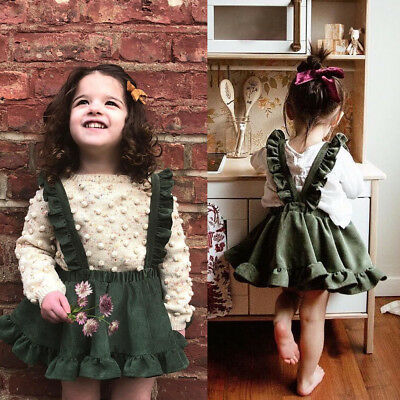 AU Toddler Kids Baby Girls Party Strap Suspender Skirt Overalls Dresses Outfits