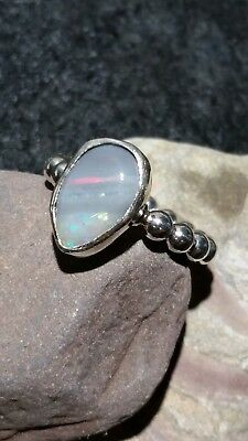 Handmade sterling silver Coober Pedy solid opal ring