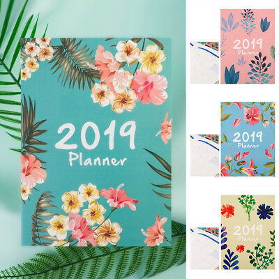 2019 Flower A4 Agenda Schedule Notebook Weekly Daily Planner Diary School Office