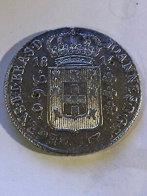Brazil 960 Reis 1816B Struck On 8 Reales Beautiful Silver Coin