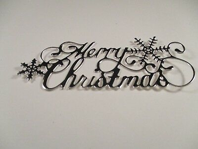 10 Silver  Merry Christmas Die Cuts.......cardmaking.......christmas.....style 1