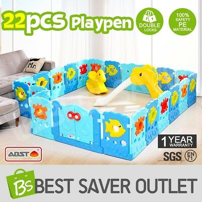 ABST 22 Sided Panel Baby Playpen Interactive Kids Toddler Baby Room Safety Gate