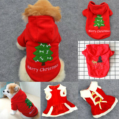 US New Pet Christmas Outfits Warm Furry Puppy Clothes Xmas Costume for Dogs Cats