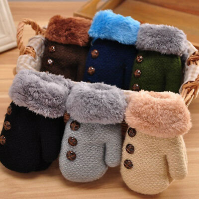 New Cute Kid Child Toddler Baby Boy Girl Winter Warm knitted Mitten Glove Xmas