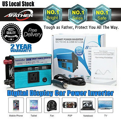 US 500W Car Power Inverter DC 12V - 110V AC Converter with 4.8A Dual USB Charger