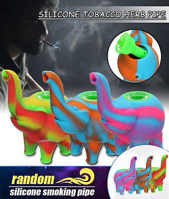 Collectible Elephant Smoking Pipe Herb Silicone Tobacco  Glass Hand Mutli-Color