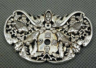 chinese old antique collection Tibetan silver hand carved bat carp pendant
