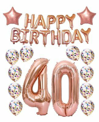 40th Birthday decorations Party supplies,40th Birthday Balloons Rose Gold,Rose